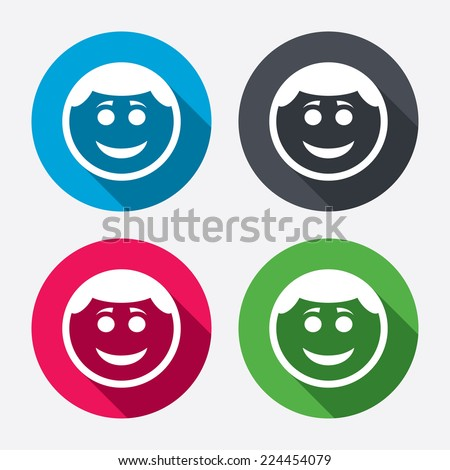 Smile face sign icon. Happy smiley with hairstyle chat symbol. Circle buttons with long shadow. 4 icons set. Vector - stock vector