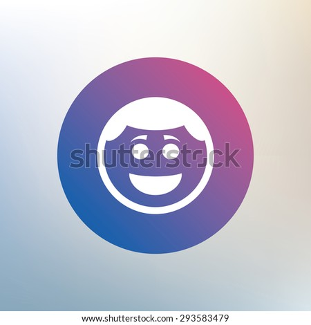 Smile face sign icon. Happy smiley with hairstyle chat symbol. Icon on blurred background. Vector - stock vector