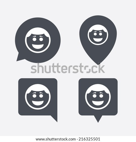 Smile face sign icon. Happy smiley with hairstyle chat symbol. Map pointers information buttons. Speech bubbles with icons. Vector - stock vector