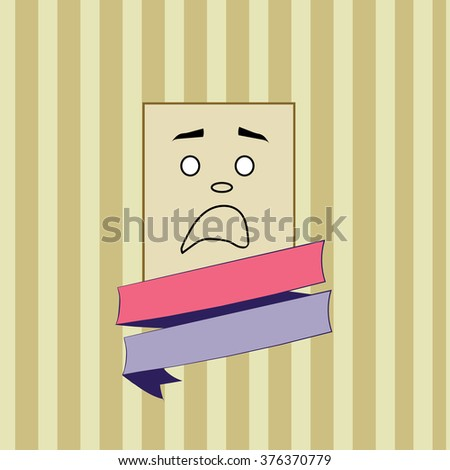 Smile fear vector. Rectangular smile on striped background.concept illustration with colored ribbon.vintage retro style.Panic emoticon. - stock vector