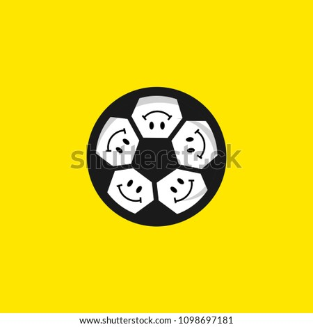 smile football vector template design illustration stock vector