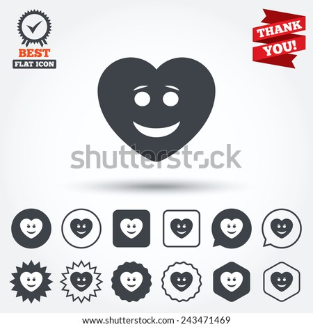 Smile heart face sign icon. Happy smiley with hairstyle chat symbol. Circle, star, speech bubble and square buttons. Award medal with check mark. Thank you ribbon. Vector - stock vector