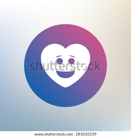 Smile heart face sign icon. Happy smiley with hairstyle chat symbol. Icon on blurred background. Vector - stock vector
