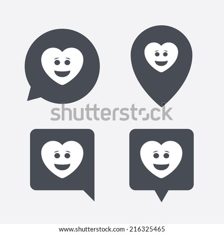 Smile heart face sign icon. Happy smiley with hairstyle chat symbol. Map pointers information buttons. Speech bubbles with icons. Vector - stock vector