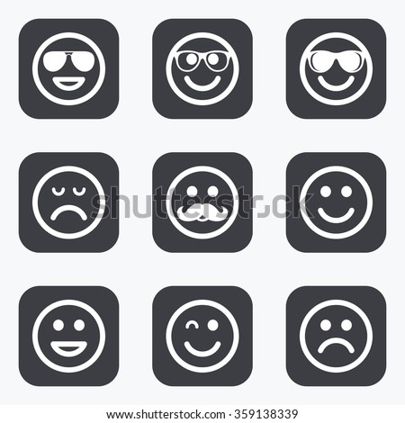 Smile icons. Happy, sad and wink faces signs. Sunglasses, mustache and laughing lol smiley symbols. Flat square buttons with rounded corners. - stock vector