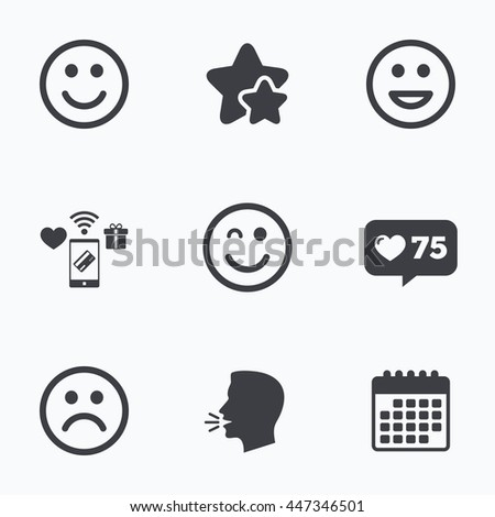 Smile icons. Happy, sad and wink faces symbol. Laughing lol smiley signs. Flat talking head, calendar icons. Stars, like counter icons. Vector