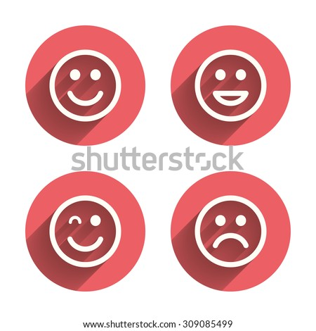 Smile icons. Happy, sad and wink faces symbol. Laughing lol smiley signs. Pink circles flat buttons with shadow. Vector - stock vector