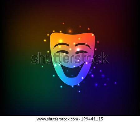 Smile mask symbol,Rainbow vector - stock vector