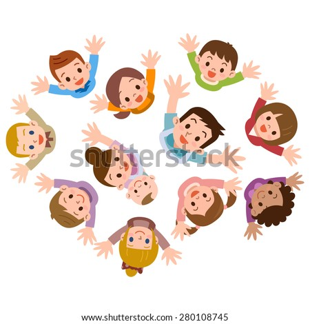 Smile of the children and nursery teacher I have been looking up - stock vector