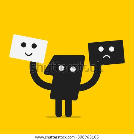 Smile or bad face - stock vector