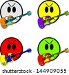 Smile Playing Guitars - stock vector