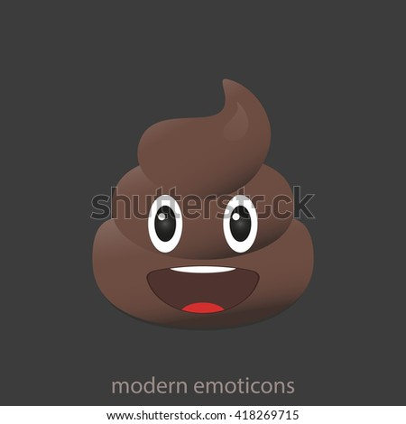 Smile poo icon. Shit emoticons. Poop emoji face isolated.  - stock vector