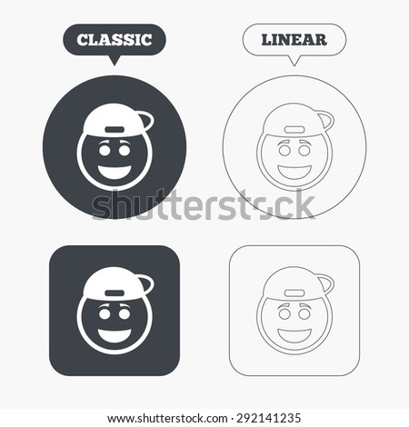 Smile rapper face sign icon. Happy smiley with hairstyle chat symbol. Classic and line web buttons. Circles and squares. Vector - stock vector