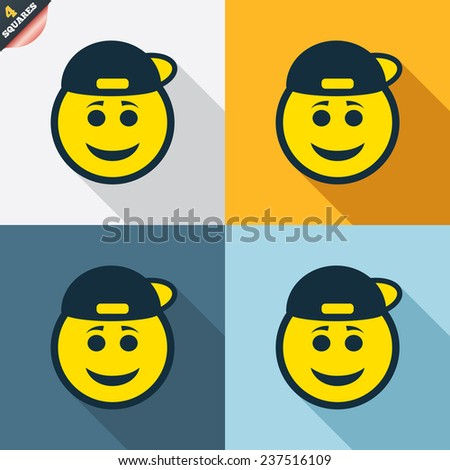 Smile rapper face sign icon. Happy smiley with hairstyle chat symbol. Four squares. Colored Flat design buttons. Vector - stock vector