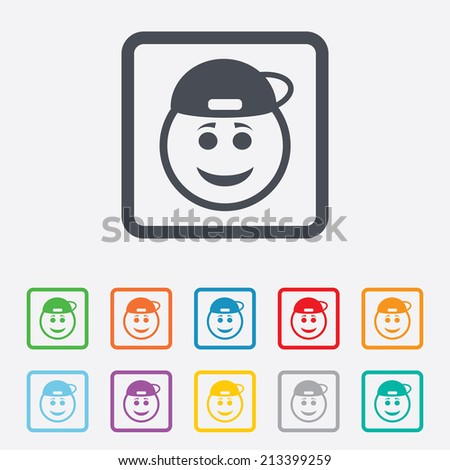 Smile rapper face sign icon. Happy smiley with hairstyle chat symbol. Round squares buttons with frame. Vector - stock vector