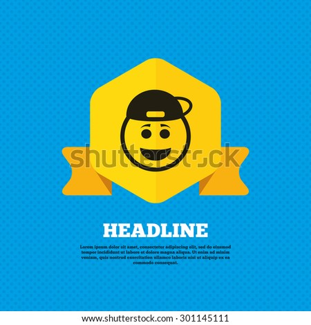 Smile rapper face sign icon. Happy smiley with hairstyle chat symbol. Yellow label tag. Circles seamless pattern on back. Vector - stock vector