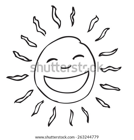 Smile Sun doodle - stock vector