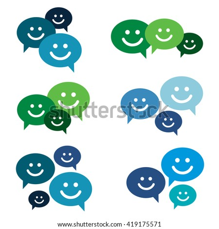 Smile talking bubble icon set. Isolated on white background - stock vector