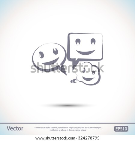 smile talking bubble  icon, vector illustration. Flat design style - stock vector