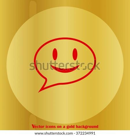 smile talking bubble icon, vector illustration. Flat design style - stock vector