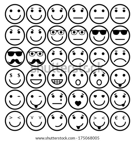 smile vector icons, different emotions - stock vector