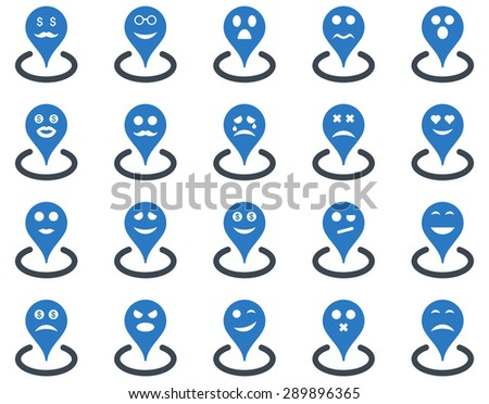 Smiled location icons. Vector set style: bicolor flat images, smooth blue symbols, isolated on a white background.
