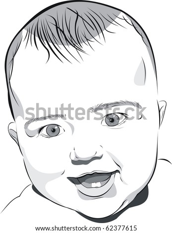 smiley baby - stock vector
