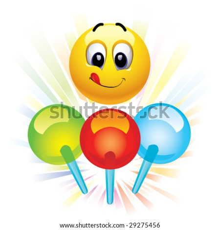 Smiley ball and motley lollypops - stock vector