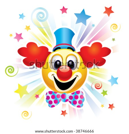 Smiley ball as clown in the circus - stock vector