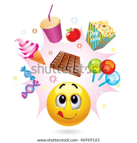 Smiley ball with different symbols of sweets - stock vector