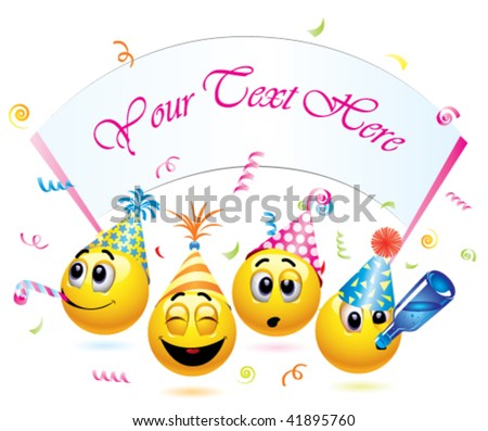 Smiley balls going to a party - stock vector