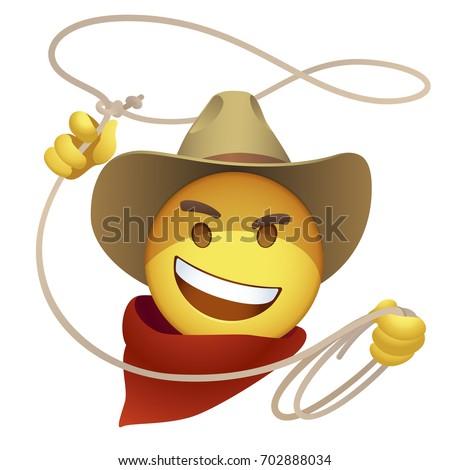 Smiley Cowboy Lasso Cartoon Sly Emoticon Stock Vector 702888034
