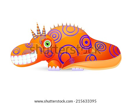 Smiley Cute Monster with Horns Isolated on White Background. Creature Icon - stock vector