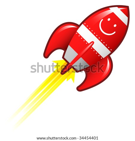 Smiley emoticon on red retro rocket ship illustration