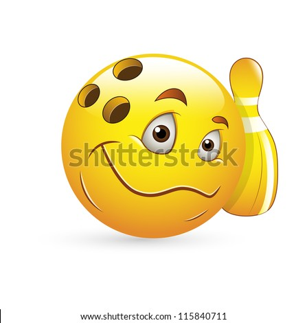 Smiley Emoticons Face Vector - Bowling - stock vector