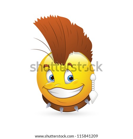 Smiley Emoticons Face Vector - Retro Pop Singer - stock vector