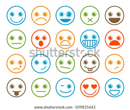 Smiley emoticons vector icon set in flat line circle button with colorful facial expression in white background. Vector illustration.
