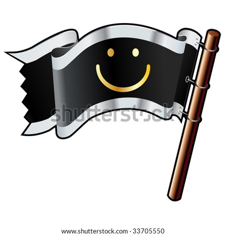 Smiley face chat or e-mail emoticon on black, silver, and gold vector flag good for use on websites, in print, or on promotional materials