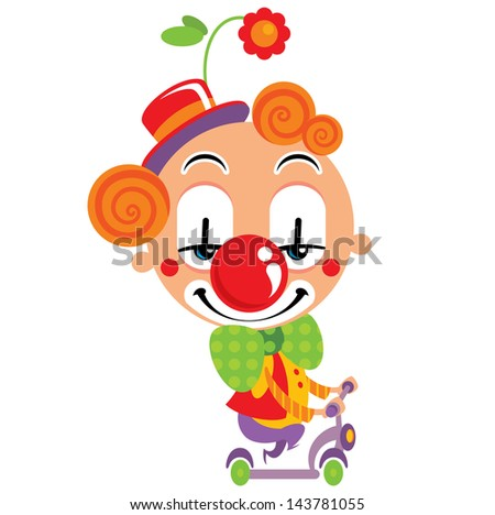 Smiley face clown party performance with a scooter and funny clothes - stock vector
