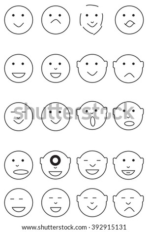 Smiley Face Icons Black Line series