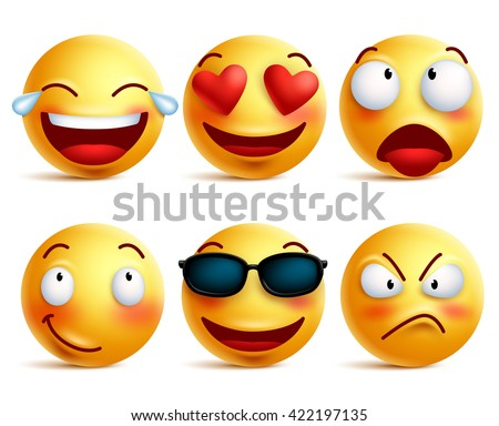 Smiley face icons or yellow emoticons with emotional funny faces in glossy 3D realistic isolated in white background. Vector illustration  - stock vector