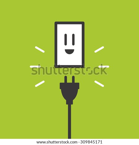 Smiley face socket and plug - stock vector