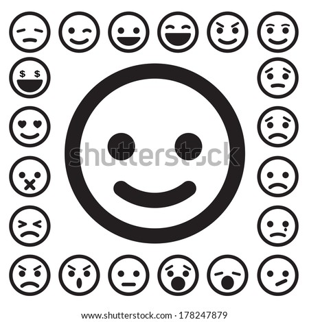 Smiley faces icons set.Illustration eps10 - stock vector