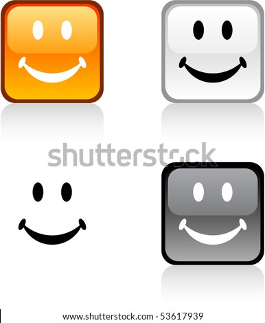Smiley glossy square vibrant buttons. - stock vector