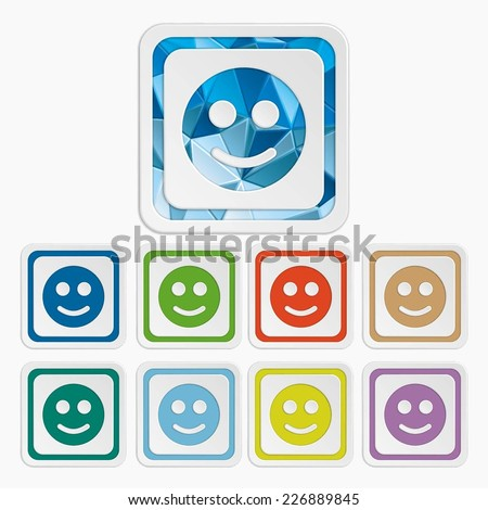 Smiley icons. Face symbols. Set colorful buttons. Vector illustration. It can be used for the web sites and mobiles. - stock vector