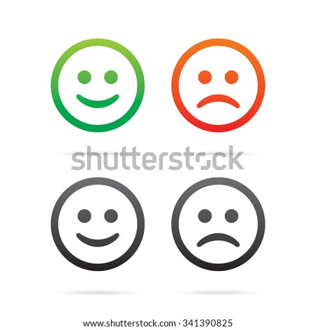 Smiley icons. Set of vector smile emoticons. - stock vector