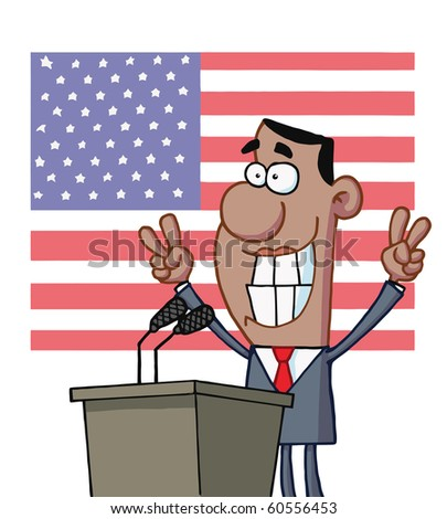 Smiley Politician Gesturing With Peace Signs And Standing At A Podium - stock vector