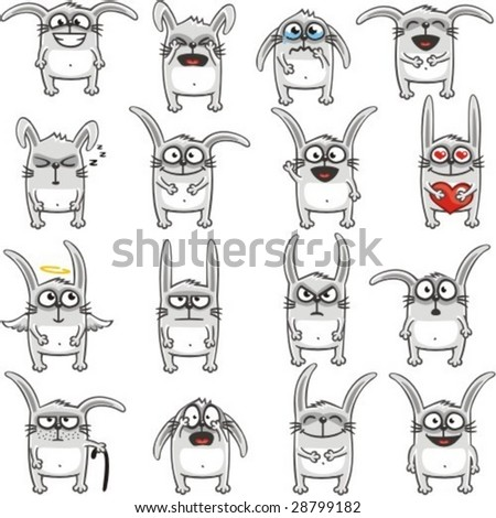 Smiley rabbits individually grouped for easy copy-n-paste. Vector.