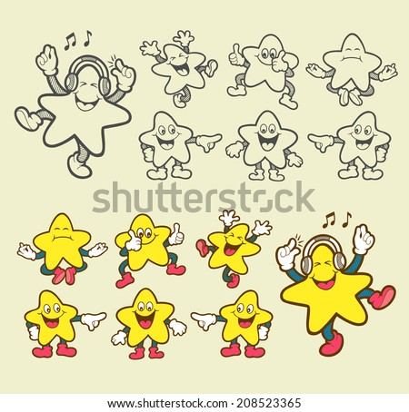 Smiley star icons. Set expression of star cartoon character. Smiling, pointer, listening music, meditation, happy, thumbs up, etc. Easy to use, edit, or change color. - stock vector