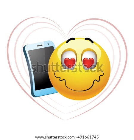 Smiley talking on a phone. Vector illustration of a smiley in love chatting on his cell phone.